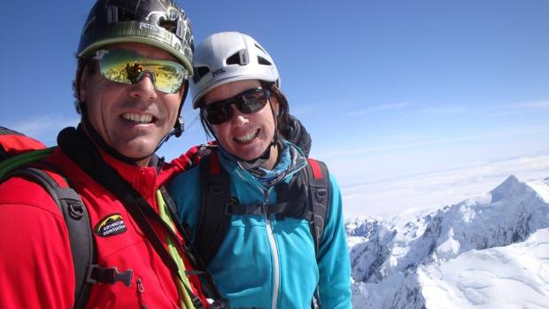Adventure Consultants directors Guy Cotter, left, and Suze Kelly on the summit of Aoraki-Mt Cook.