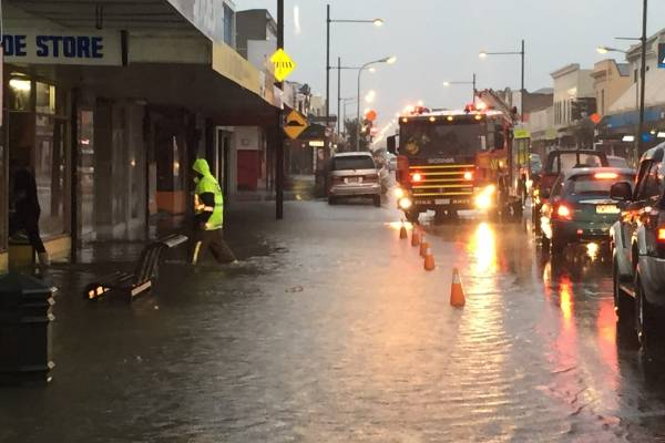 Floodwaters in Dunedin, around 4.10pm on Wednesday.