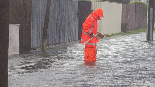 Heavy rain and blocked drains caused flooding in parts of Christchurch on Thursday.