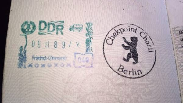 The stamp you procure when visiting Checkpoint Charlie in Berlin; note the date stays the same - which is the date the ...
