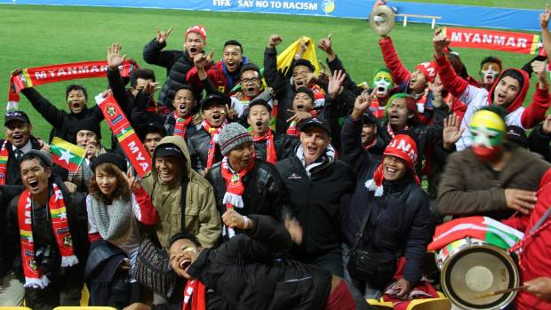 Burmese refugees from Nelson and Porirua at the Myanmar versus New Zealand Fifa U-20 World Cup game on Friday