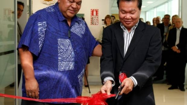 Auckland Councillor Alf Filipaina, left, and OFC president David Chung at an event in 2010.