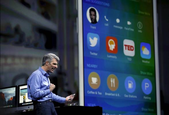 Senior vice president of Software Engineering Craig Federighi explains some of Apple's newest apps at the World Wide ...