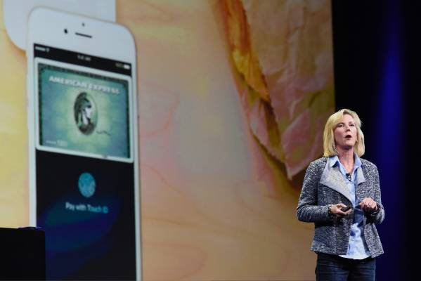 Apple Store vice president Jennifer Bailey speaks during the Apple World Wide Developers Conference.