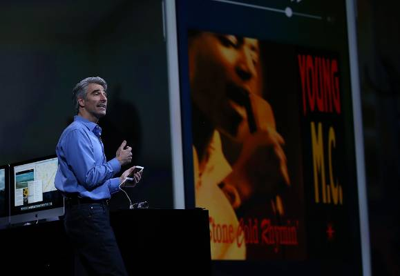 Apple senior vice president of Software Engineering Craig Federighi speaks about iOS 9 during WWDC.