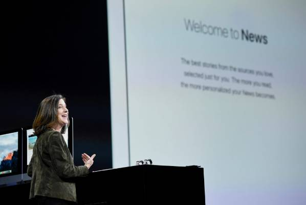Apple vice president of product marketing Susan Prescott talks about the company's new news app at WWDC in San Francisco.