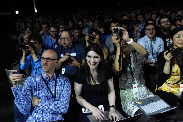 Attendees watch a presentation during the Apple World Wide Developers Conference in San Francisco.