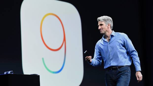 Apple's Craig Federighi explains iOS 9 at the World Wide Developers Conference in San Francisco.