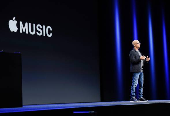 Beats Electronics founder Jimmy Iovine announces Apple Music during WWDC in San Francisco, California.