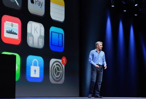 Craig Federighi shows off iOS 9 during the Apple World Wide Developers Conference in San Francisco.