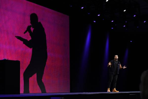 Drake on stage at the Apple World Wide Developers Conference in San Francisco.