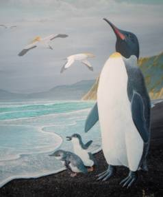 A painting of the Kawhia giant penguin by Ronald Cometti.
