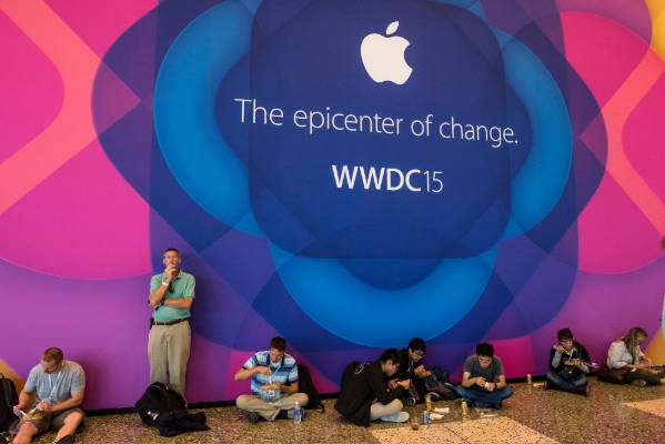 Attendees eat lunch after the keynote speech during the Apple World Wide Developers Conference in San Francisco.