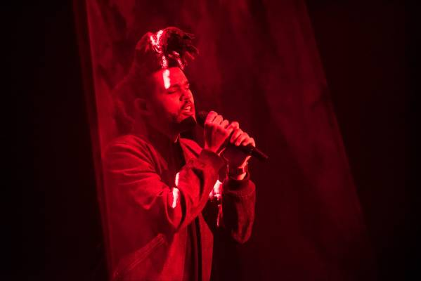 The Weeknd performs during the Apple World Wide Developers Conference in San Francisco.
