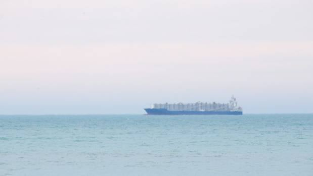 The Nada waits at sea before docking at the Port of Timaru