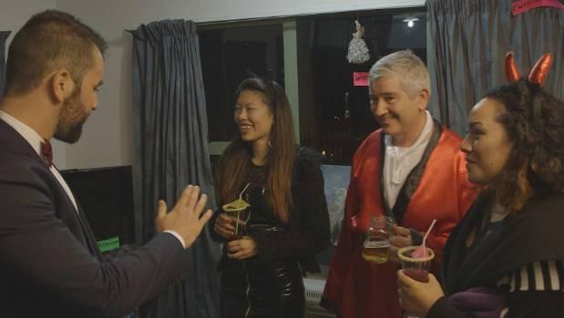 Kiwi dinner party guests, from left,  Kyle, Sarah, Tony, Monika.