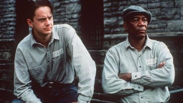 Tim Robbins as prisoner Andy Dufresne, left, and Morgan Freeman as fellow inmate Ellis Boyd 'Red' Redding.