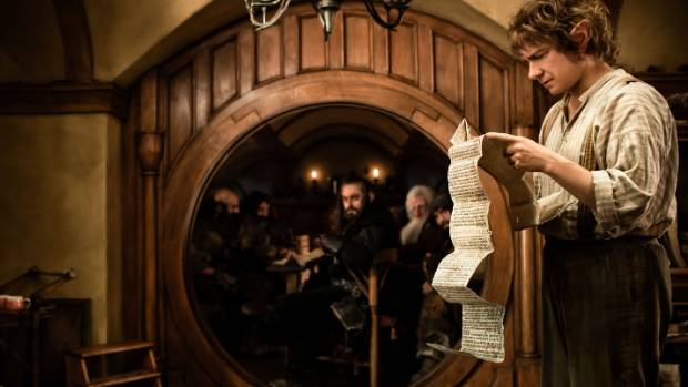 Martin Freeman as Bilbo Baggins in his home at Bag End on the set of The Hobbit: An Unexpected Journey. Director Sir ...