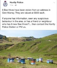 Huntly police ask for any information on the whereabouts of the stolen bee hives.