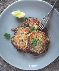 Veggie Fritters recipe from Sarah Dueweke's Primal Kitchen cookbook.