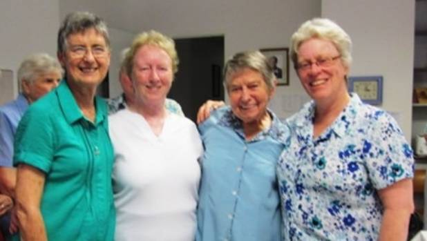 Sister Jane O'Carroll (far right) was hospitalised after spending three days stuck in a lift in Rome.