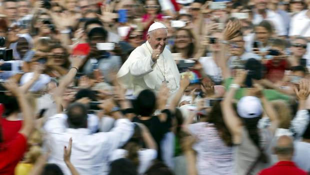 Pope Francis, seen in St. Peters's square on Sunday, is expected to release encyclical on Thursday.