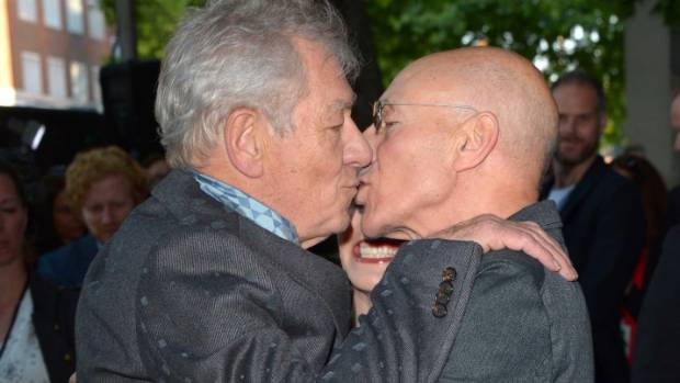 Sir Ian McKellen and Patrick Stewart share a kiss at film ... |Ian Mckellen Patrick Stewart Kiss