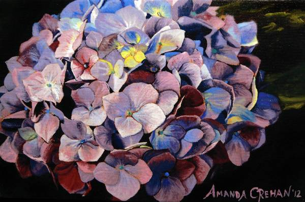 This hydrangea painting looks like the real thing, especially from a distance.