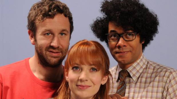 Chris O'Dowd with Richard Ayoude and Katherine Parkinson  in his breakthrough show, the IT Crowd.