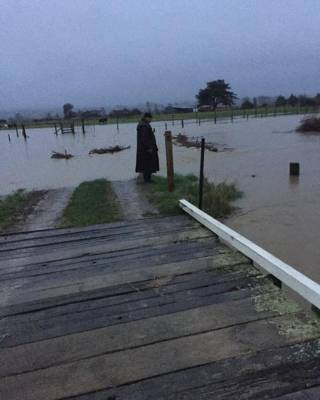 Te Matai Road in Palmerston North was one of the victims of flooding, with water cutting off access to several homes.