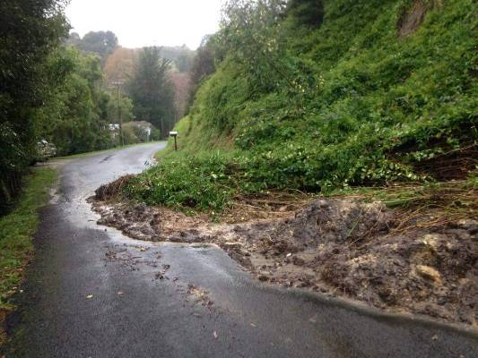 A slip on the road near Durie Hill, across the river from Whanganui.
