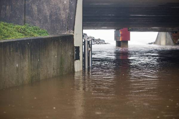 The Huatoki stream has burst its banks in New Plymouth.
