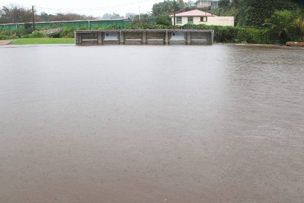 Paritutu bowling green in New Plymouth covered by floodwater.