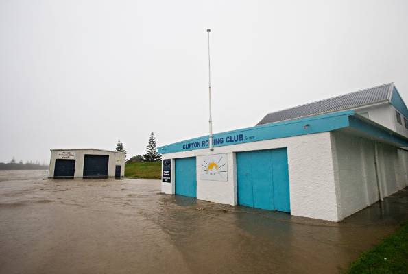 Waitara's Clifton Rowing Club was inundated by floodwaters.