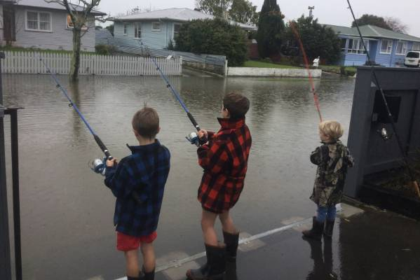 Craig Harrison's children have a novelty fishing tournament from their driveway in Palmerston North.