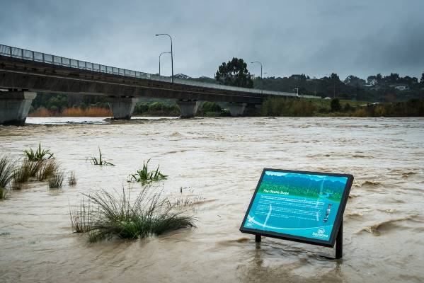 The Manawatu River at the Fitzherbert Ave bridge in flood last month.