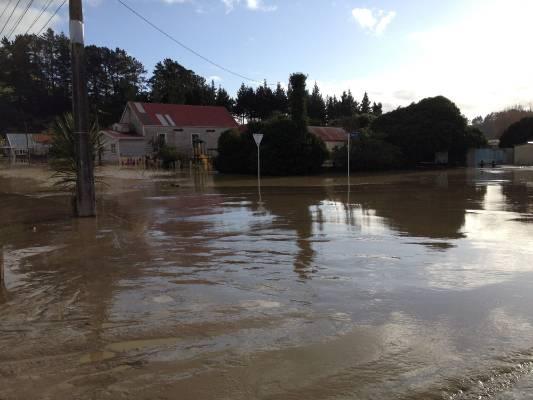 The silt covered streets of Waitotara in South Taranaki. The nearby Waitotara river burst its banks overnight.