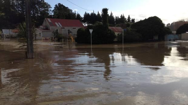 The silt covered streets of Waitotara in South Taranaki. The nearby Waitotara river burst its banks late last night.