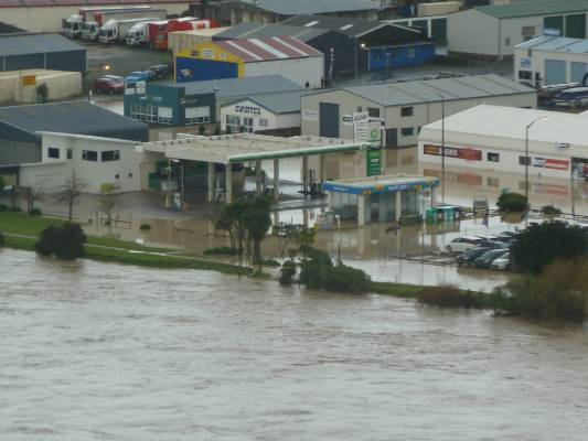 Whanganui town centre has turned into a river.