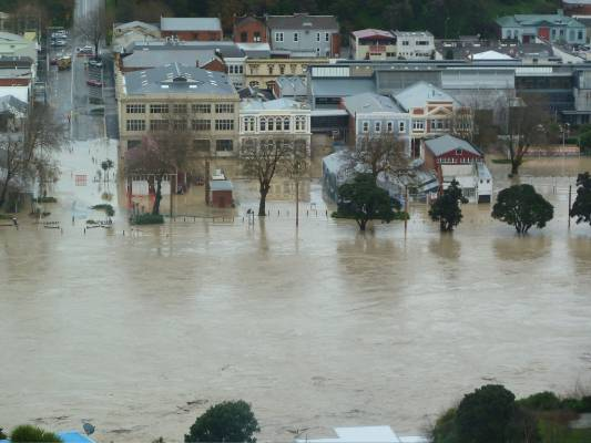 Floodwaters have run over stopbanks in Whanganui.