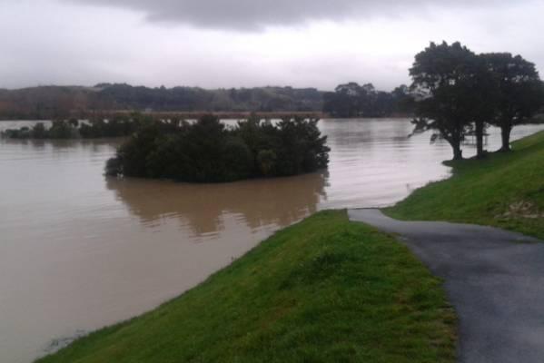 The Manawatu River on Sunday morning.