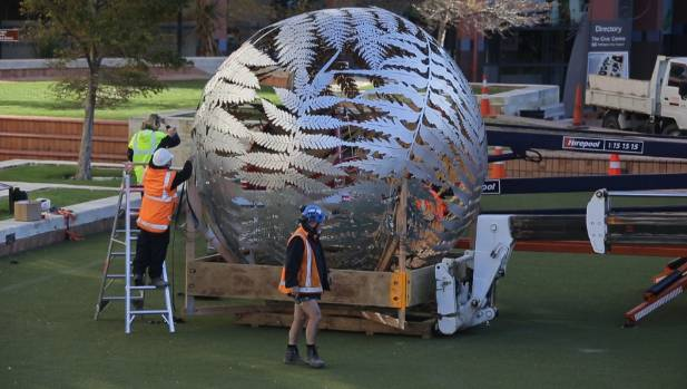 Wellington's renowned sculpture Ferns is removed from its position above Civic Square for repair last year.