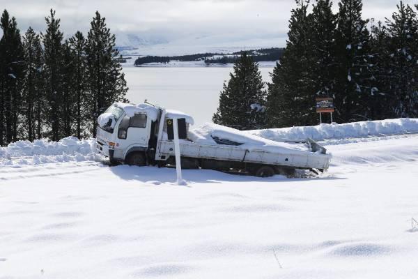 A stranded truck at Lake Pukaki.