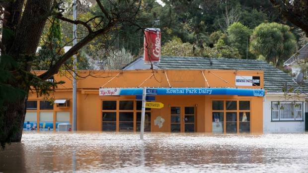 Flooding of the Kowhai Park Dairy on Anzac Parade in Whanganui.
