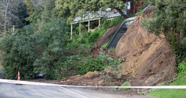 A slip forces the closure of Ikitara Rd in Wanganui East.