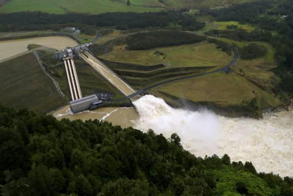 Water going through the Patea dam.