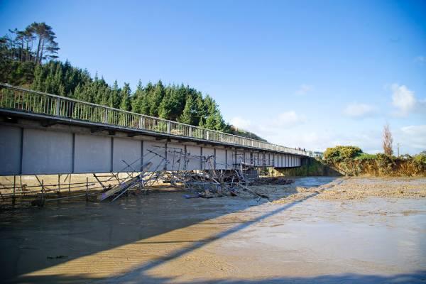 The SH3 Waitotara River bridge during the flooding.