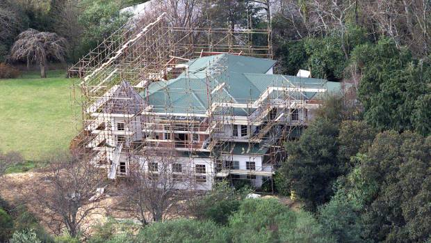 An aerial shot of Peter Jackson's Wairarapa retreat, taken in 2002, during renovations.