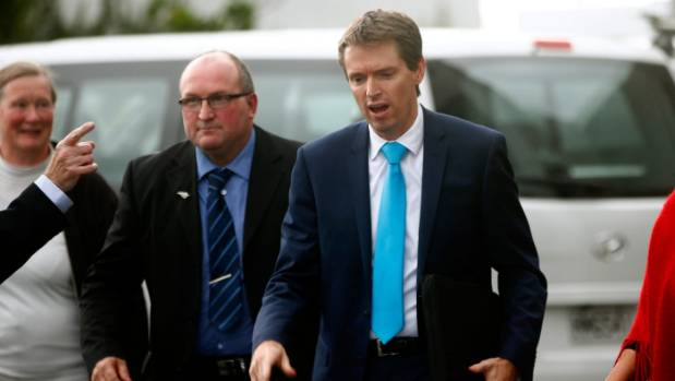 Former Conservative chair Brian Dobbs, left, with former leader Colin Craig at an earlier party event.