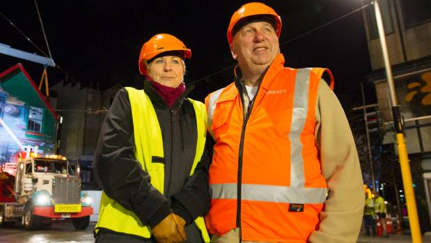 Christchurch Heritage Ltd's Anna Crighton and property developer Antony Gough braved an early start and freezing ...